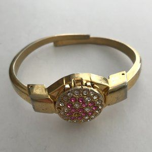 Girl's Gold Locket Watch Silver & Pink Jewels
